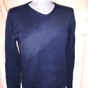 pink 4-ply 100% cashmere navy blue v-neck sweaterL